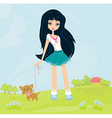 sweet girl and her puppy vector image vector image