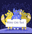 three cute fairy cats holding a board fairy cats vector image vector image