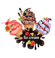 Three ice creams vector image vector image