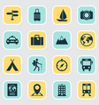 traveling icons set collection of suitcase vector image