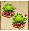 Two Funny frog sits on precious stones vector image