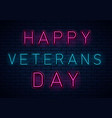veterans day neon vector image