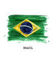 watercolor painting flag of brazil vector image