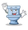 waving toilet character cartoon style vector image vector image