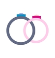 Wedding rings flat icon vector image vector image