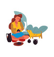 woman with dog at home cartoon character sitting vector image