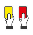 judge hands holding red and yellow cards vector image