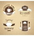 Restaurant menu emblems set textured vector image