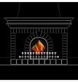 White outline of the fireplace and flame isolated vector image