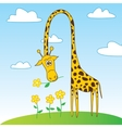 Cute Funny Giraffe Cartoon Character with Flower vector image