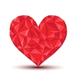 polygonal ruby heart with reflection and shadow vector image