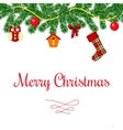 Merry christmas wreath and toys postcard vector image