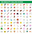 100 beauty salon icons set cartoon style vector image