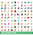 100 clothes icons set isometric 3d style vector image vector image