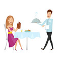 a waiter with a hot dish in the restaurant on a vector image vector image