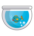 aquarium glass with cute fish vector image