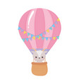 baby shower little sheep in air balloon vector image vector image