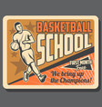basketball sport player with ball on court vector image vector image
