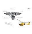 blueprint of main rotor of helicopter vector image vector image