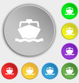 boat icon sign Symbol on five flat buttons vector image