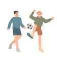 boys playing with ball football soccer vector image vector image