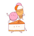 cake macaron and ice cream cone characters vector image