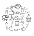 canteen icons set outline style vector image