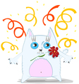 Cartoon cat with flower vector image vector image