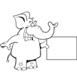 Cartoon Elephant with a Sign vector image vector image