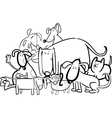 Cartoon Group of Dogs for Coloring vector image