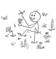 cartoon of man sitting between flowers and vector image vector image