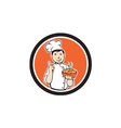 Chef Cook Carrying Bowl Circle Cartoon vector image vector image