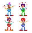 circus clowns set performance for vector image