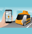 control of autonomous taxi by mobile app vector image vector image