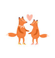 couple cute scandinavian foxes in love heart vector image vector image