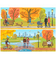 couple standing on bridge autumn park set vector image vector image