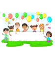cute kids holding empty festive banner colored vector image vector image