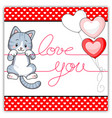 cute tabby gray kitten hanging on a love message vector image vector image