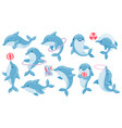 dolphins with balls cute cartoon blue dolphin vector image vector image