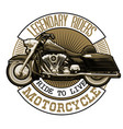 emblem with vintage motorcycle high detailed vector image