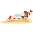girl on beach bed vector image vector image