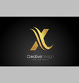 gold metal x letter design brush paint stroke on vector image vector image