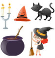 halloween set with witch and black cat vector image vector image