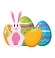 happy easter rabbit eggs vector image vector image