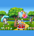happy easter rabbit riding a car with chick holdin vector image