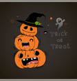 happy halloween card with three cute pumpkins vector image
