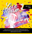 Live music poster with a microphone for concert vector image