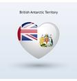 Love British Antarctic Territory symbol Heart flag vector image vector image