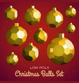 low poly marry christmas balls set vector image