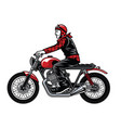 man riding vintage custom motorcycle vector image vector image